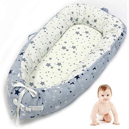VIVILINEN Nido Bebé Recién Nacido,Algodón 100% Reductor de Cuna Nidos para Bebes, Cojin Cuna Bebe Colecho, Cama Cana Nido de Viaje, 90 x 50 cm (Gris-1)