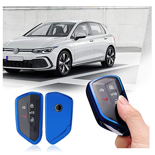 SHAOHAO Schlüssel Hülle für Golf 8 Seat Leon Ateca Tarraco Octavia,TPU Silikon Autoschlüssel Schlüsselhülle Autofernbedienungen Schutzhülle (Blau)