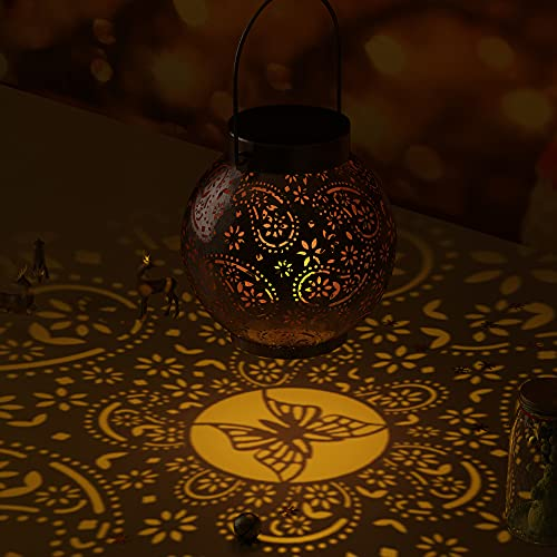SOAIY Lámpara de linterna con diseño de mariposa, luz de linterna solar IP44 impermeable para exteriores, jardín, casas de interior, patio, entrada