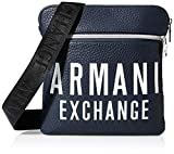 Armani Exchange - Small Flat Crossbody Bag, Bolso Hombre, Azul (Sargasso Sea), 10x10x10 cm (W x H L)