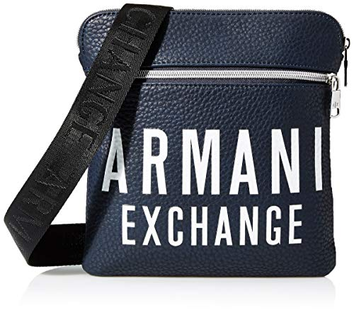 Armani Exchange - Small Flat Crossbody Bag, Bolso Hombre, Azul (Sargasso Sea), 10x10x10 cm (W x H L)