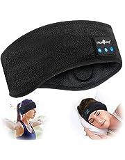 Bluetooth Sova Hörlurar, 5,2 Bluetooth Hårband Sömn, Trådlöst Sport Huvudband, Musik Huvudband, Svettband för Träning, Jogging, Yoga, Sömnlöja, Resa (Svart, böjd)