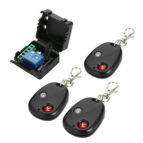 OWSOO Universal 12 V Fernbedienung Schalter Smart Home Empfänger Sender 433 MHz DC 1CH Drahtlose Fernschalter Relais Modul und RF Sender Fernbedienungen 1527, 3 Stücke
