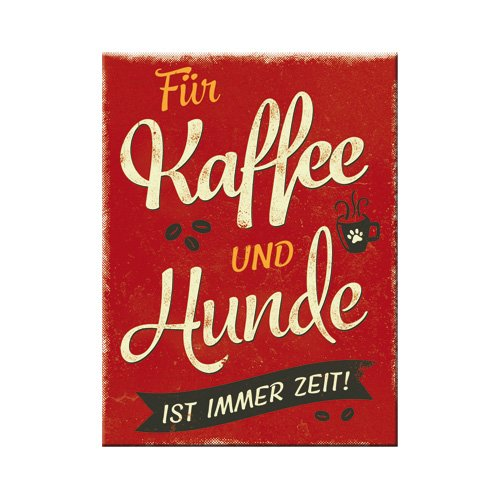 Nostalgic-Art 14363, PfotenSchild-Kaffee und Hunde, Magnet 8x6 cm, Metall, 8 x 6 x 0.1 cm