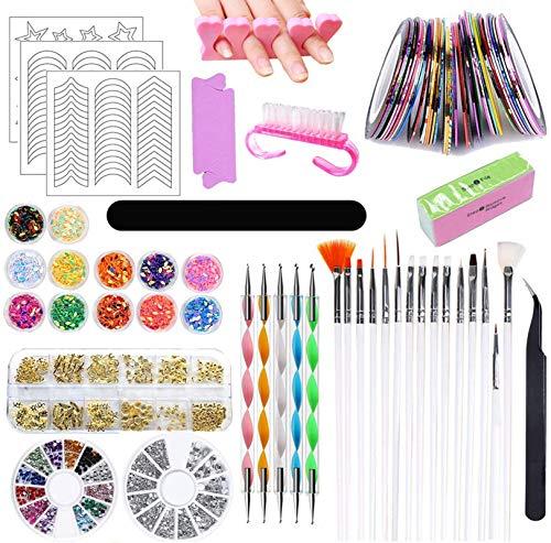Kit de Decoración de Uñas, Nail Art Design Kit Set,Kit de Diseño de Arte de Uña, Pincel Uñas Suministros de uñas, Accesorios para Uñas Decoración Uñas Kit Uñas Art