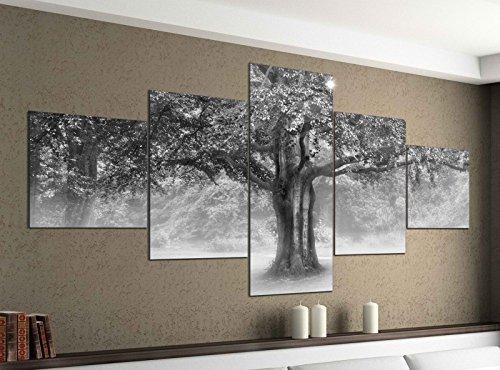 Leinwandbild 5 tlg. 200cmx100cm Baum bei Nebel Landschaft Buche schwarz weiß Bilder Druck auf Leinwand Bild Kunstdruck mehrteilig Holz 9YA1656, 5Tlg 200x100cm:5Tlg 200x100cm