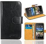HTC Desire 620 Handy Tasche, FoneExpert® Wallet Hülle Flip Cover Hüllen Etui Ledertasche Lederhülle Premium Schutzhülle für HTC Desire 620 (Schwarz)