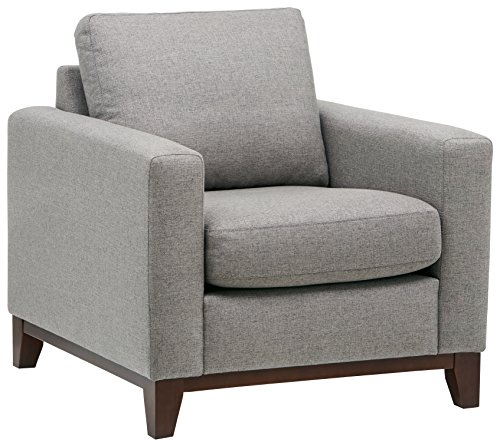 Amazon Brand – Rivet North End Wood Accent Living Room Arm Chair, 38'W, Grey Weave