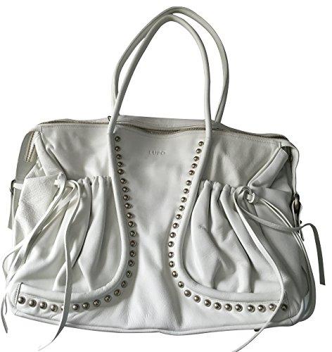 LUPO Barcelona Damen Tasche Blanco Metallnieten Echtleder Tote Bag Weiß Maße (LxHxB): 44 x 32 x 15 cm - One Size - Modell: 10906103007 SS07 423095