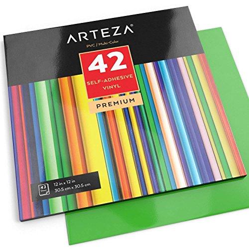 ARTEZA Selbstklebende Vinylfolie, 12 x 12 Zoll (30.4 cm x 30.4cm) Blattgröße, Set mit 42 Klebefolien, Vinylblätter zum Basteln und Aufkleben auf glatten Oberflächen