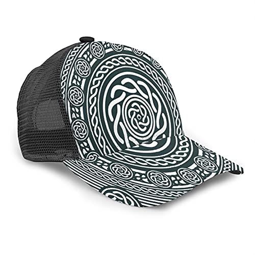 Gorra de Beisbol para Hombres Mujeres Espalda de Malla Snapback,Diseño circular celta, étnico irlandés con líneas espirales retorcidas en el,Sombrero del Camionero Deportes al aire Libre para Viajar