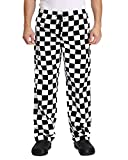 Men's Black and White Checkerboard Print Chef Pants with Elastic Waist Drawstring Baggy Chef Uniforms BigPlaid L