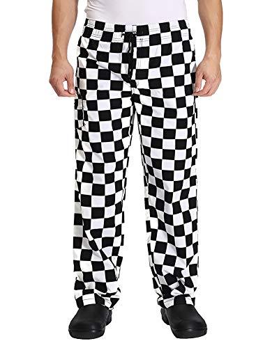 Nideen Pantalones de cocinero unisex para cocinar, uniformes, panadería, jefe, con cintura elástica Cuadrícula grande S