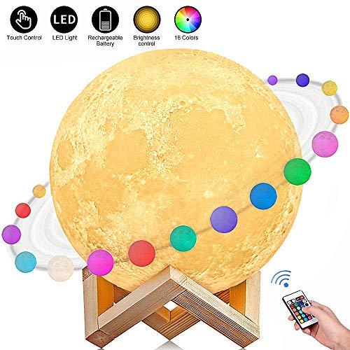 AGM Lampe Lune 3D 15CM 16 Couleurs Télécommande Tactile...