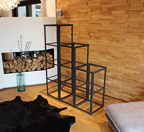 CALEIDO Metallregal Glasvitrine mit 3 Glasböden Valentino (40 x 40 x 75 cm)