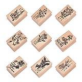 NBEADS Timbri in Legno Fiore, 9 pz Francobolli con Sigillo in Legno con Motivo Floreale per La Fabbricazione di Carte Fai-da-Te Scrapbooking, 4x2.7x2.5cm