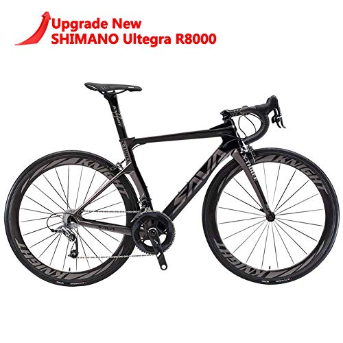 SAVADECK Phantom 2.0 Carbon Fiber Road Bike 700C Racing Bicycle with Ultegra 8000 22 Speed Group Set, 25C Tire and Fizik Saddle (Black Grey,54cm)