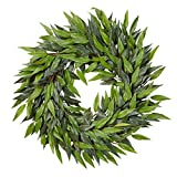 Home Pure Garden 18-Inch Artificial Ficus Microphylla Leaf Wreath – Indoor Lifelike Round Faux Greenery for Seasonal and Holiday Decor Office