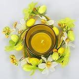 com-four® 2X Oster Teelicht - Oster-Deko mit Ostereier und Kunstblumen - Farbenfrohes Tischgesteck für Ostern und Frühling - 3