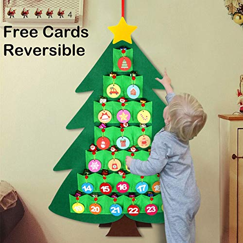 OurWarm Christmas Advent Calendar for Kids, 2020 24 Days Felt Christmas Tree Countdown Calendar Flip Pattern and Number for Home Holiday Christmas Decorations