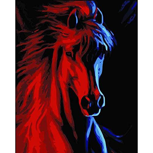 YSNMM Rood Paard Sterke Spier Dier Diy Digitale Schilderen Door Getallen Moderne Muur Kunst Canvas Schilderen Unieke Gift Home Decor