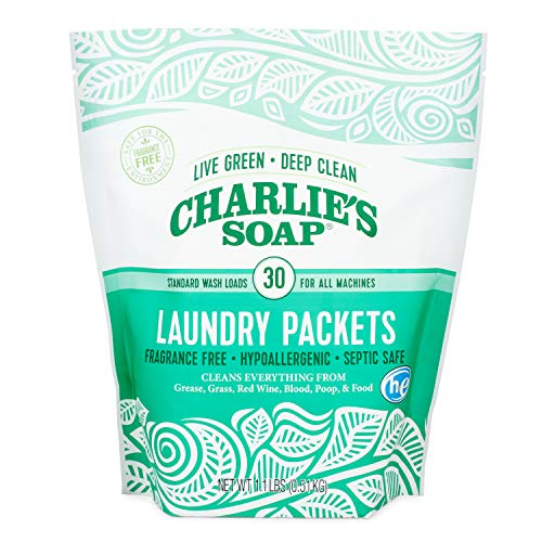 Product Image of the Charlie's Soap – Fragrance Free Powdered Laundry Detergent Packets – 30 Pods (1 Pack)…