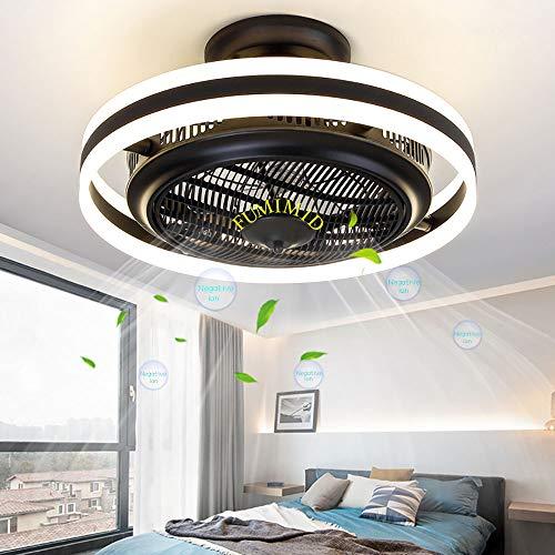 FUMIMID Lámpara LED Techo Ventilador Techo Negativo Dormitorio Luz Iones Invisibles Luces Ventilador Comedor Sala Estar Moderna con Ventilador Control Remoto Lámpara Negro