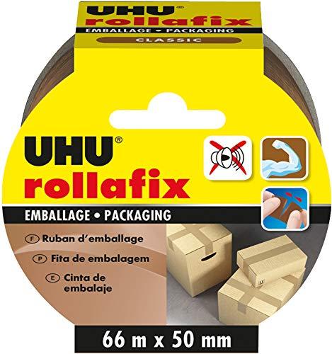 UHU Rollafix Ruban d'Emballage Marron - 66 m de long x 50 mm de large
