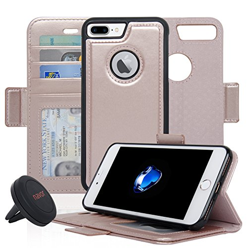 Navor Detachable Magnetic Wallet Case and Universal Car Mount Compatible for iPhone 7 Plus [RFID Protection] [Vajio Series]-Rose Gold
