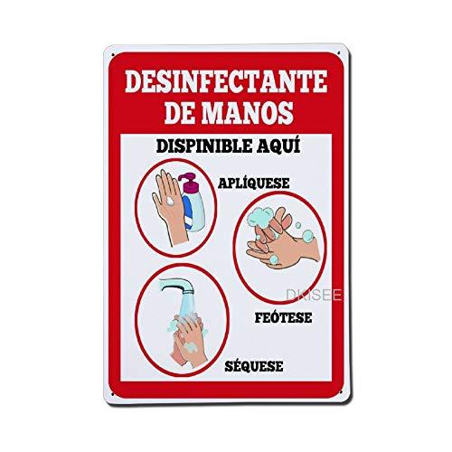 DKISEE Desinfectante De Manos – Disponible Aqui Apliquese Frotese Sequese Plaque décorative en métal avec trous, 6\