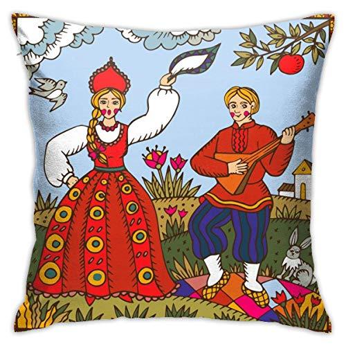 ETGeed Funda de Almohada para sofá Coche Baile Tradicional Ruso Tradicional Mujer y Hombre
