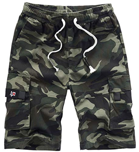 XinYangNi Women's Cargo Shorts Elastic Waist Drawstring Cotton Casual Outdoor Lightweight Shorts with Multi Pockets CP Camo US 8-10