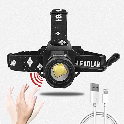Linterna Frontal LED Recargable, 15000 Lúmenes LuzFrontalCabeza con Baterías de 5200mAh Incorporadas, 5 Modos, Control de Sensor, Linterna Frontal Potente para Camping, Senderismo, Pesca