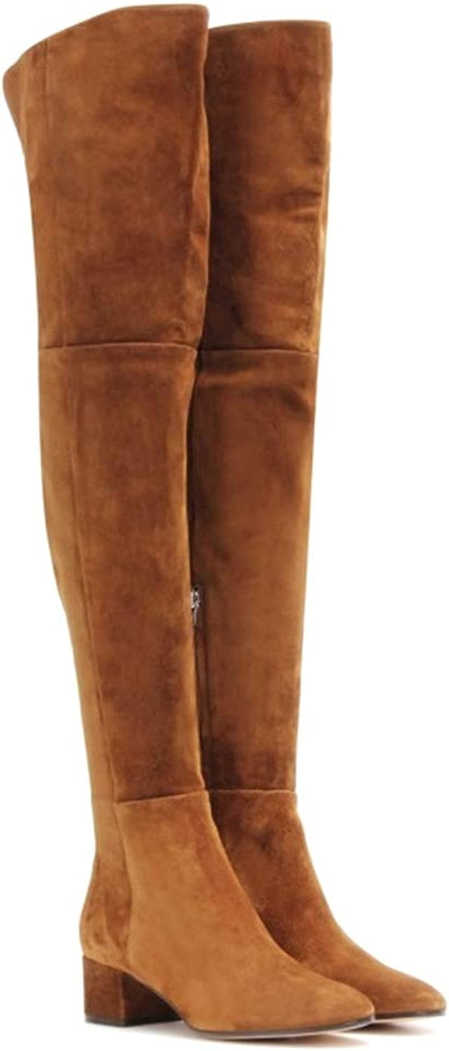 Women Winter Thigh High Boots Square Heel Cow Suede Ladies Boots Zipper Over The Knee Boots shoes