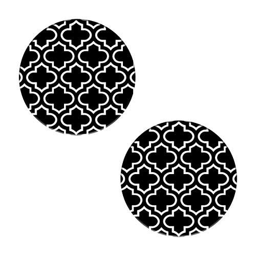 Posavasos con diseño de enrejado en blanco y negro – Juego de posavasos de piedra absorbente con piedra de cerámica y base de corcho para tipos de tazas y tazas, oficina, cocina (juego de 2)