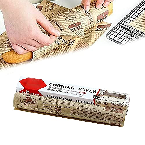 High Temperature Resistant, Waterproof and Greaseproof Baking Paper, for Baking, Cooking, Grilling, Air Fryer and Steaming, Non-stick Parchment Paper Roll (1 pcs Brown)
