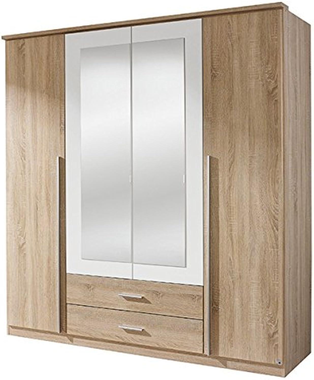 Kleiderschrank grau   wei 4 Türen B 181 cm Schrank Drehtürenschrank Wscheschrank Spiegelschrank Kinderzimmer Jugendzimmer Schlafzimmer