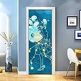 KEXIU 3D Acuario PVC fotografía adhesivo vinilo puerta pegatina cocina baño decoración mural 77x200cm