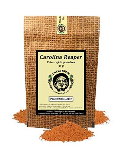 Uncle Spice Carolina Reaper Pulver - 50g schärfste Chili der Welt fein gemahlen in Premiumqualität - GRINGO KILLER - Chilischoten in Pulver, Chilipulver - 1.5 Mio Scoville - Achtung EXTREM SCHARF