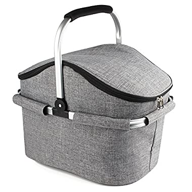 YONOVO 22L Folding Picnic Basket Large Insulated Bag Waterproof for Gathering Travel Camping BBQ (Grey-House Shape-1)