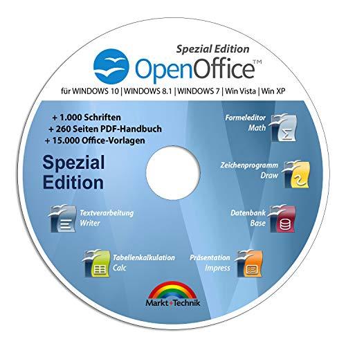 Open Office Spezial-Edition für Windows 10-8-7-Vista-XP | PC-Software mit 15.000 Vorlagen, 1.000 Schriften und PDF Handbuch | Dokumente, Kalkulationstabellen und Präsentationen erstellen