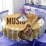 Rock Music - Mantel redondo moderno con diseño de bocetos y micrófono, diseño abstracto, color marrón