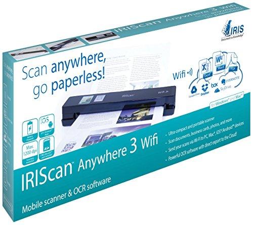 IRIScan Anywhere 3 Wi-Fi Scanner Portatile per Documenti Sincronizzabile con Qualsiasi Dispositivo Tramite Wi-Fi, Nero