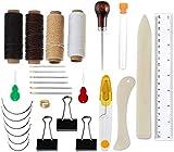 Encuadernación Herramientas Set Carpeta de Hueso Marcador Agujas de Ojo Grande Agujas de Coser Hilo Encerado Punzón de Puntada, 28 Piezas Costura Punch Craft Tool