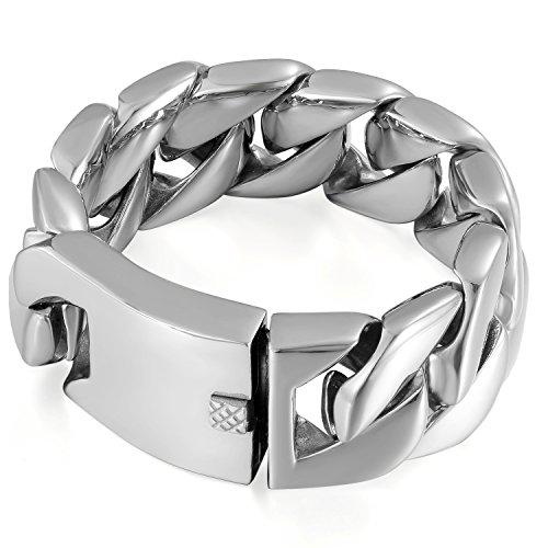 OIDEA Panzerkette Herren Armband 30mm Farbe Silber, Groß Edelstahl Biker Armreif Panzerarmband Hochglanz Poliert Armkette