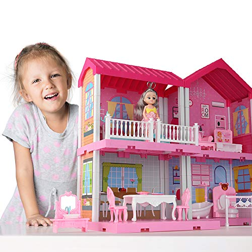TEMI Dollhouse Dreamhouse Building Toys Figure w/ Furniture, Accessories, Pets and Dolls, DIY Cottage Pretend Play Doll House, for Toddlers, Boys & Girls(4 Rooms)