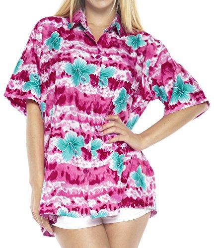LA LEELA Shirt con el tamaño del botón de Las Mujeres Blusa hasta la Playa de Flores de Hibisco Impresa Aloha Rosa_AA190 M - ES Tamaño :- 44-46