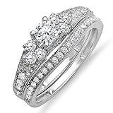 Dazzlingrock Collection 1.00 Carat (ctw) 14K Round Diamond Ladies Bridal Engagement Ring Set 1 CT, White Gold, Size 7