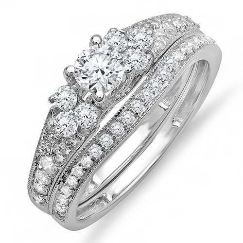 Dazzlingrock Collection 1.00 Carat (ctw) 14K Round Diamond Ladies Bridal Engagement Ring Set 1 CT, White Gold, Size 8 Diamond Ladies Bridal Set