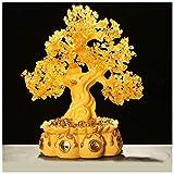 ADSE Inicio Accesorios Citrino Árbol de la Vida Piedras Preciosas Árbol de Cristal Cuerno de la abundancia Dorado Bonsai Feng Shui Árbol del Dinero para la Suerte 16.9 Pulgadas Accesorios (A)